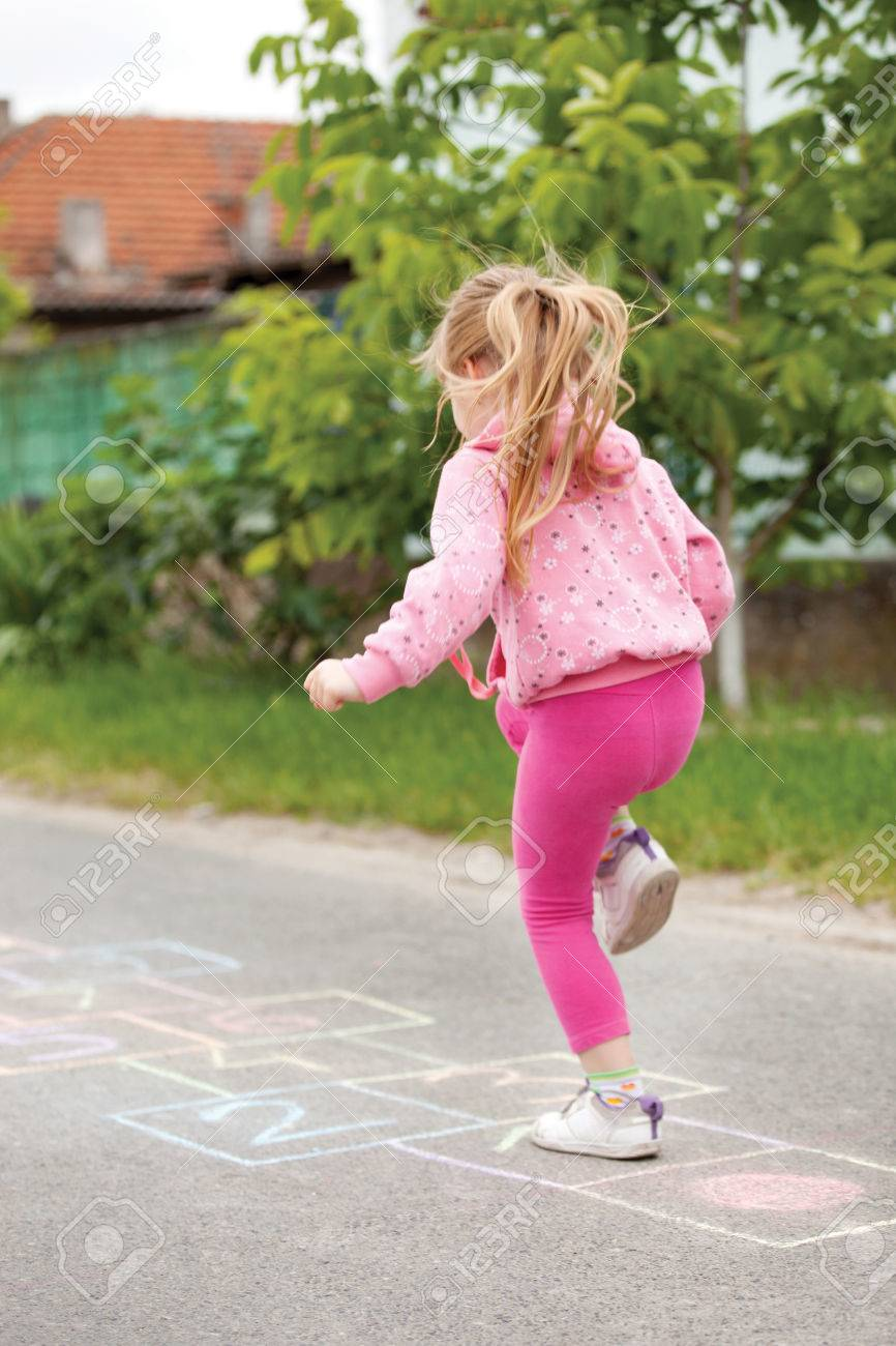 beautiful litlle girl on the hopscotch - 29259405