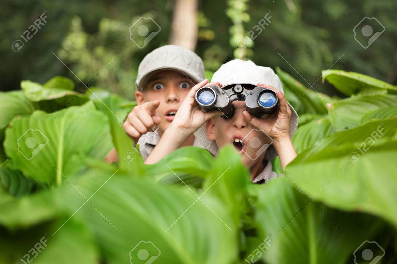 two Boy hiding in grass looking through binoculars outdoor - 62264968