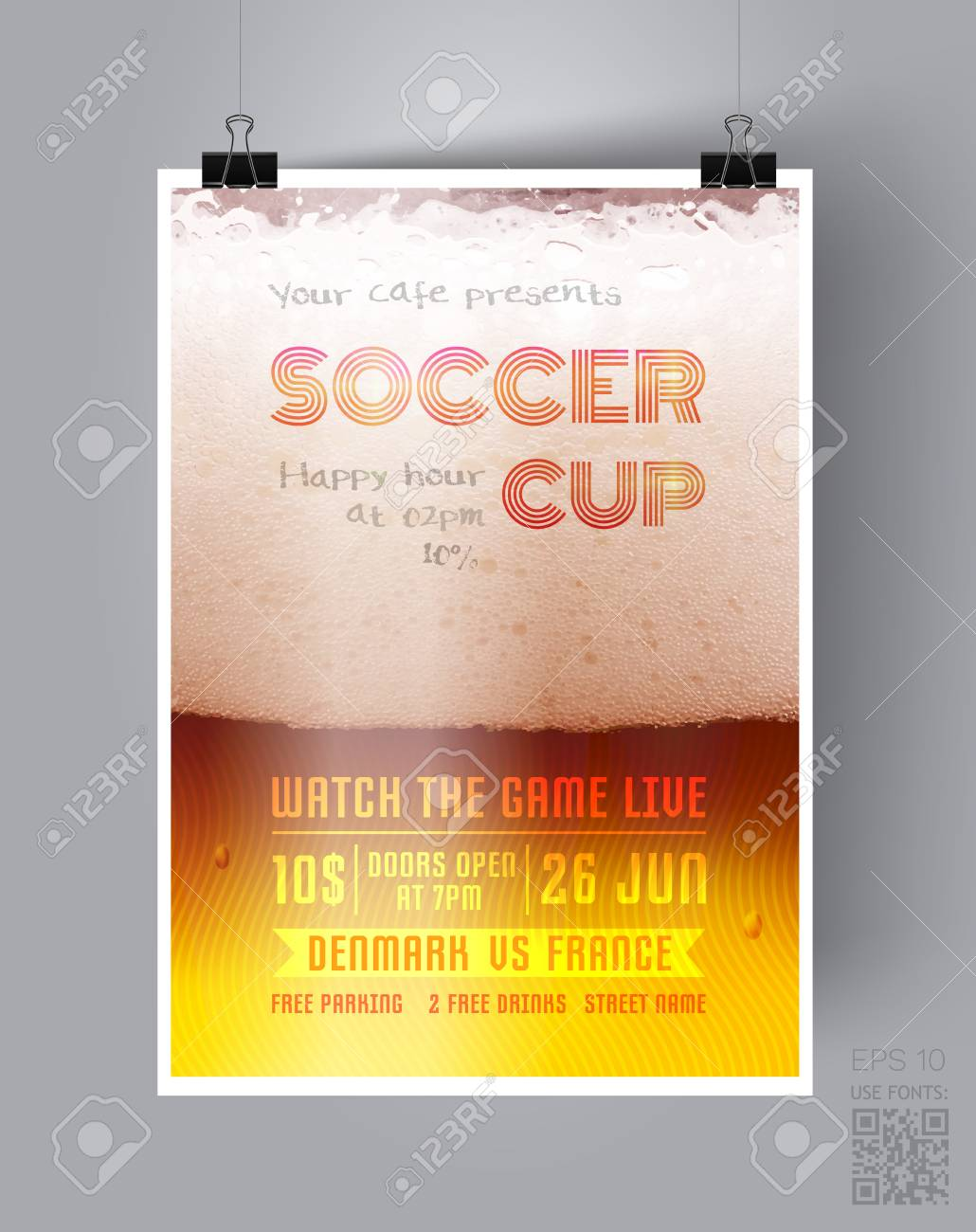 Soccer Cup Flyer Template On The Background Of A Beer Glass Happy Hour Poster