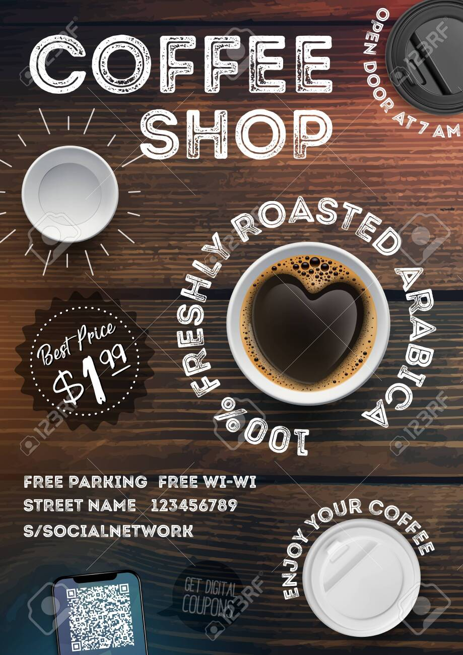 Coffee shop flyer template on vintage wood texture background. Advertising invitation in A4 format brochures, posters, banner, leaflet. Vector illustration - 133738045