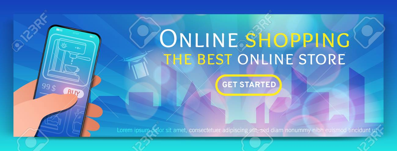 Banner Template Of Online Shopping And E Commerce Modern Flat Royalty Free Cliparts Vectors And Stock Illustration Image 104942206