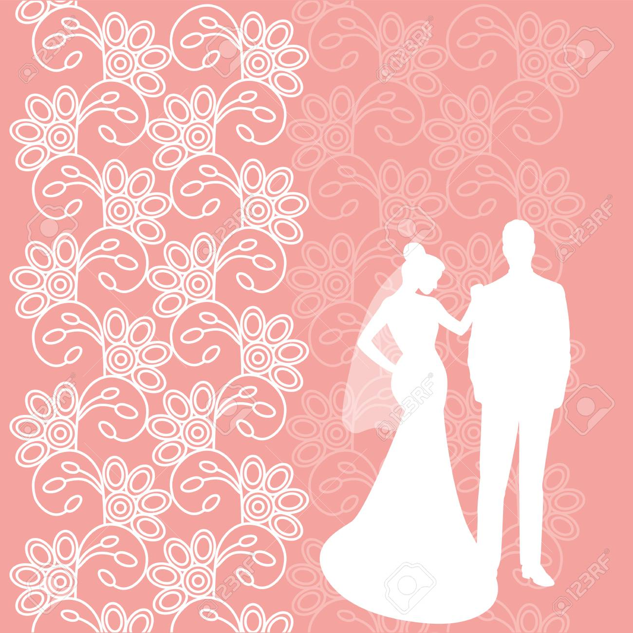 Wedding Card With The Newlyweds On A Pink Background Ornament