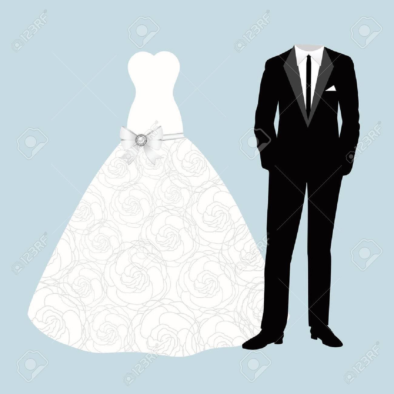 b6fca7bf0 Invitación de boda con novio y la novia ropa. Hermoso vestido de novia y el  traje.