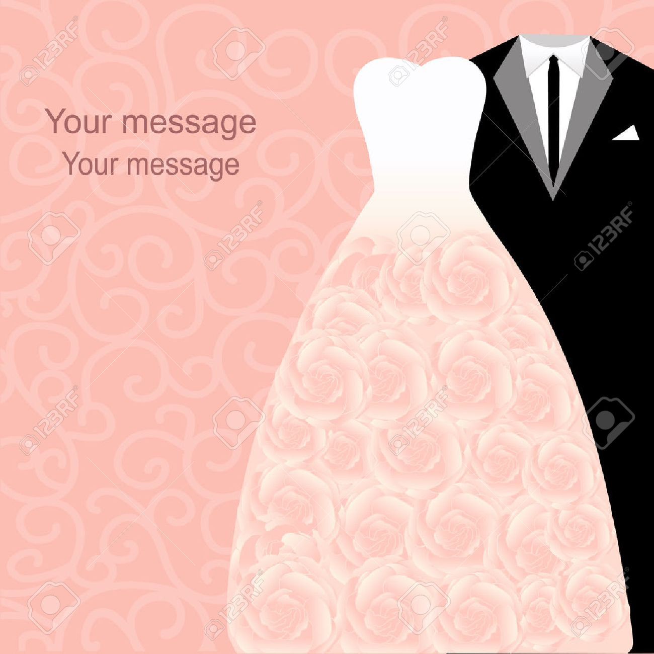 Wedding Invitation With A Tuxedo And Dress On An Abstract ...