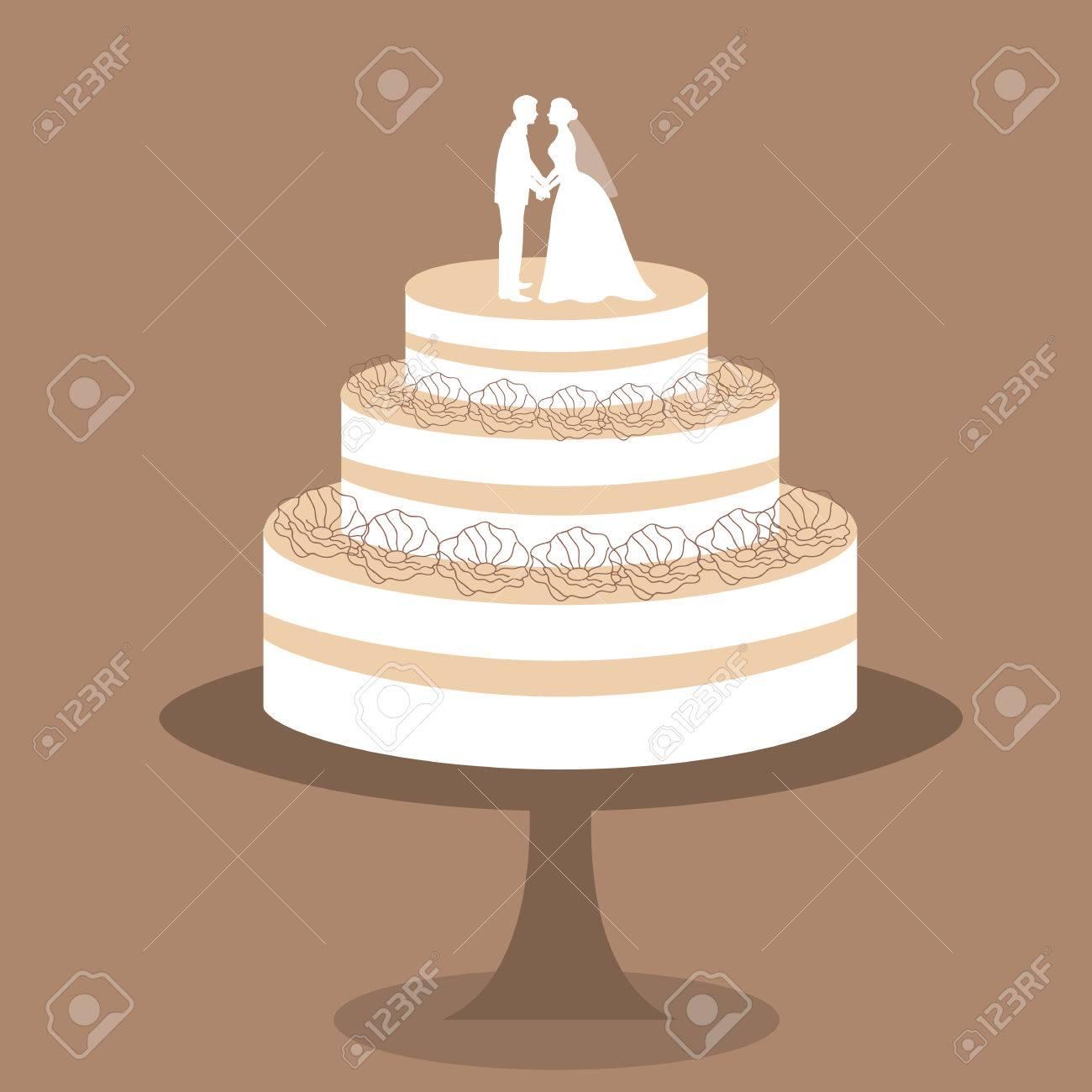 Hochzeitskuchen Mit Braut Und Brautigamfigurchen Kuchen Mit Sahne