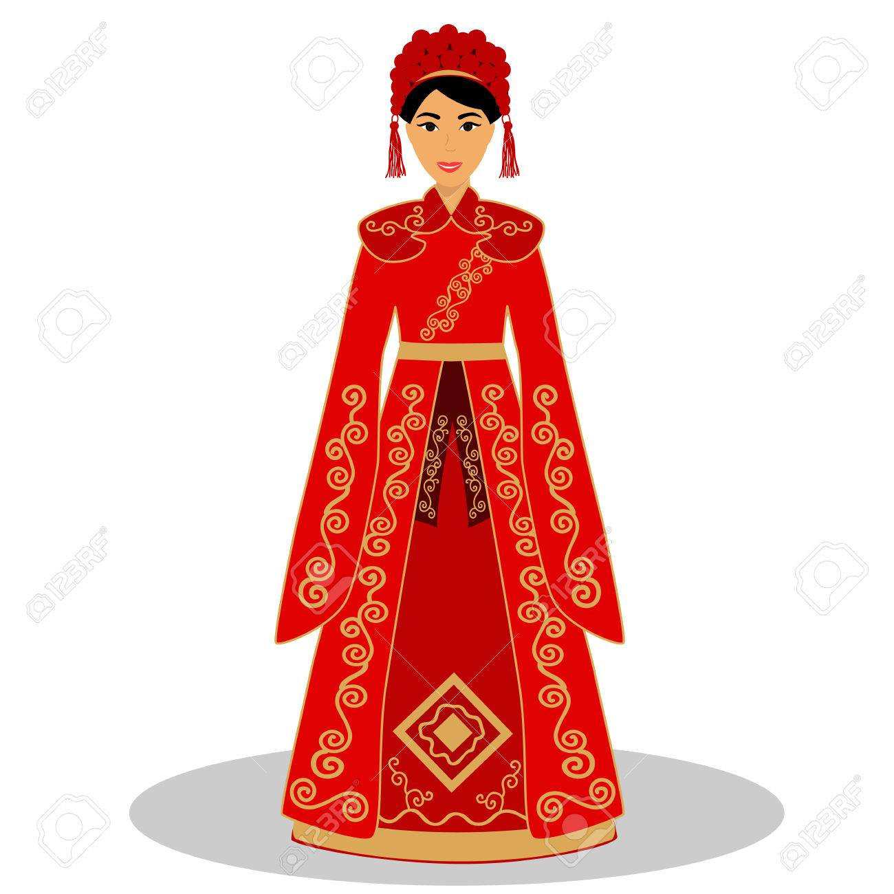 Chinese Wedding Dress.Traditional Chinese Bride Bride In Wedding Dress Vector Illustration