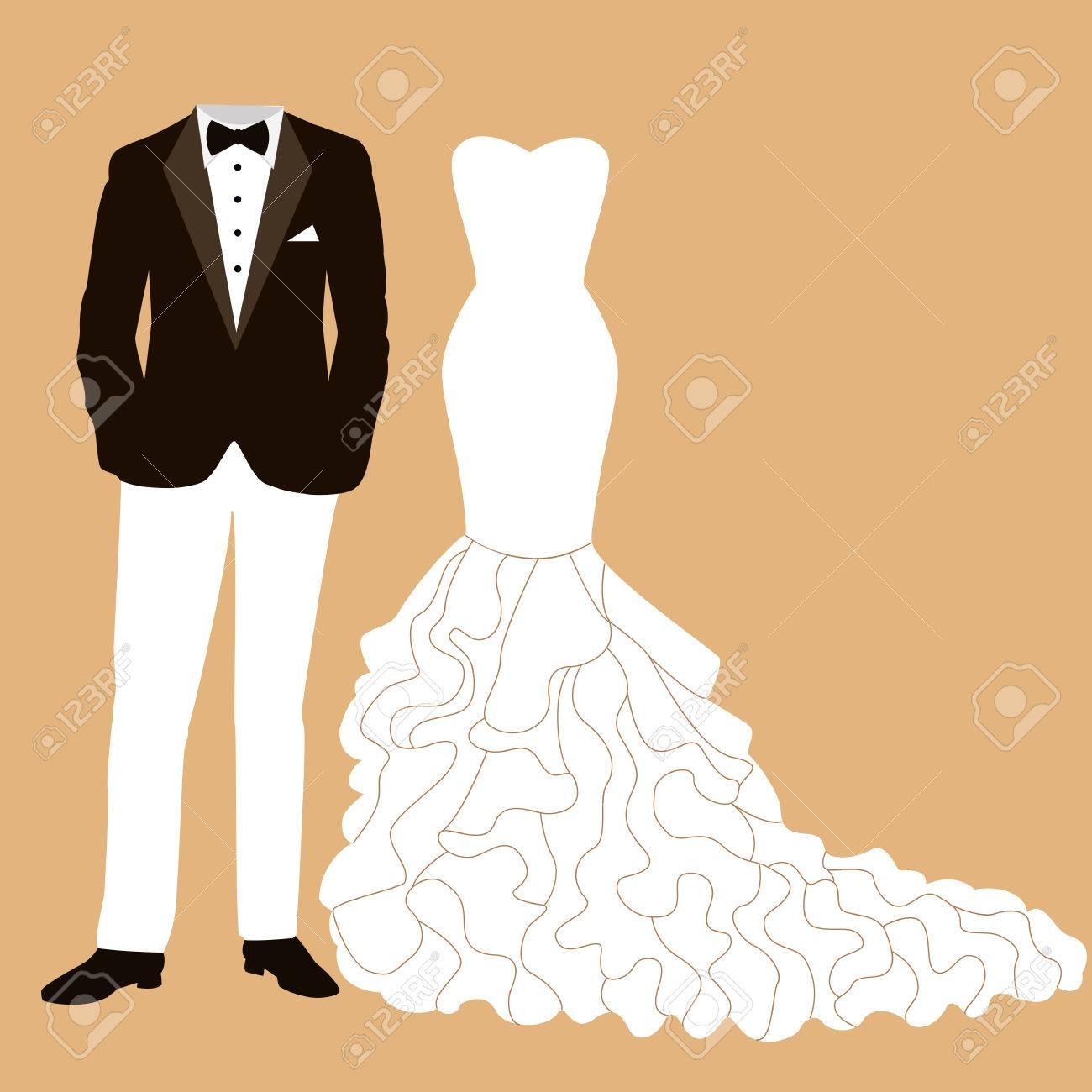 新郎新婦の衣装で結婚式のカード。美しいウェディング ドレスとタキシード。ベクトルの図。