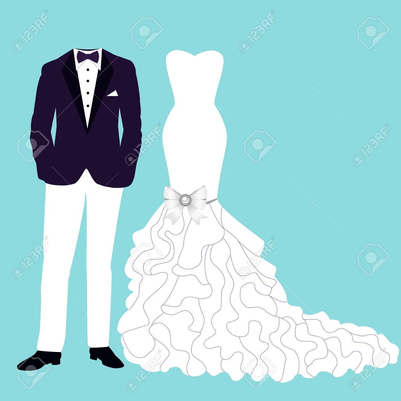 37f763e91 Tarjeta de boda con la ropa de la novia y el novio. Hermosa boda azul  vestido y esmoquin. Ilustración del vector.