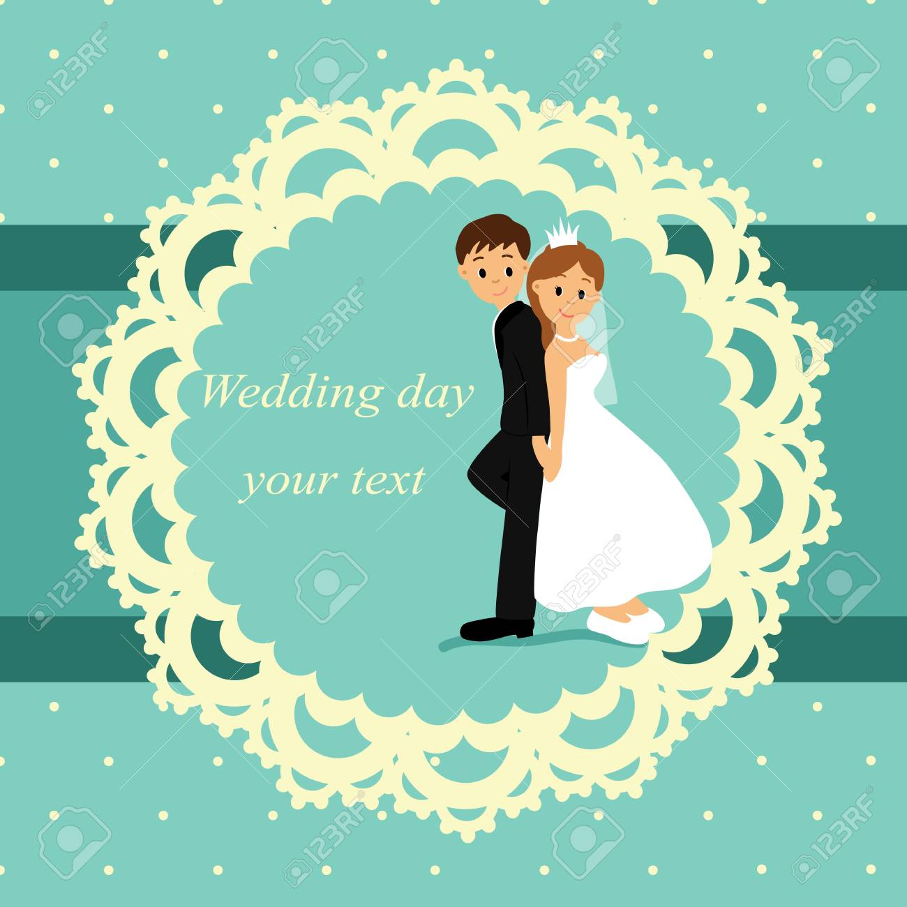 Invitation Card With The Bride And Groom In Vintage Style. Bride ...