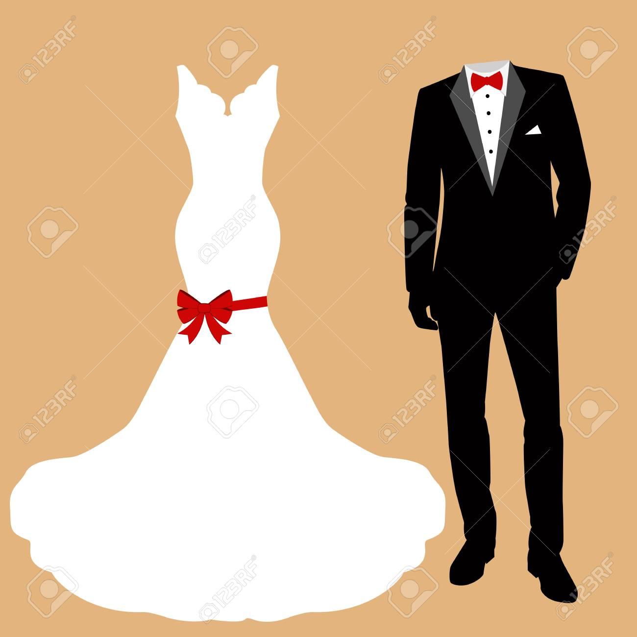 47b8c3ed2 Tarjeta de boda con la ropa de la novia y el novio. Hermoso vestido de  novia y esmoquin. Ilustración del vector.