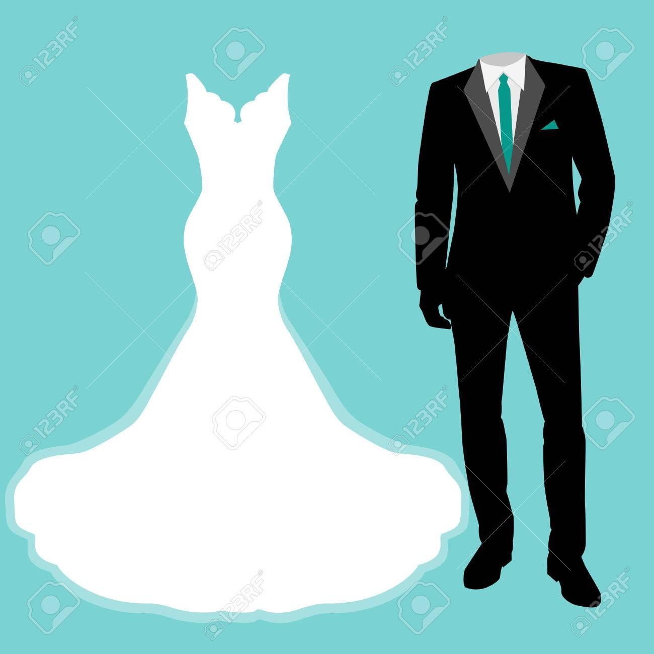 905d60b34 Tarjeta de boda con la ropa de la novia y el novio. Hermoso vestido de  novia y esmoquin. Ilustración del vector.