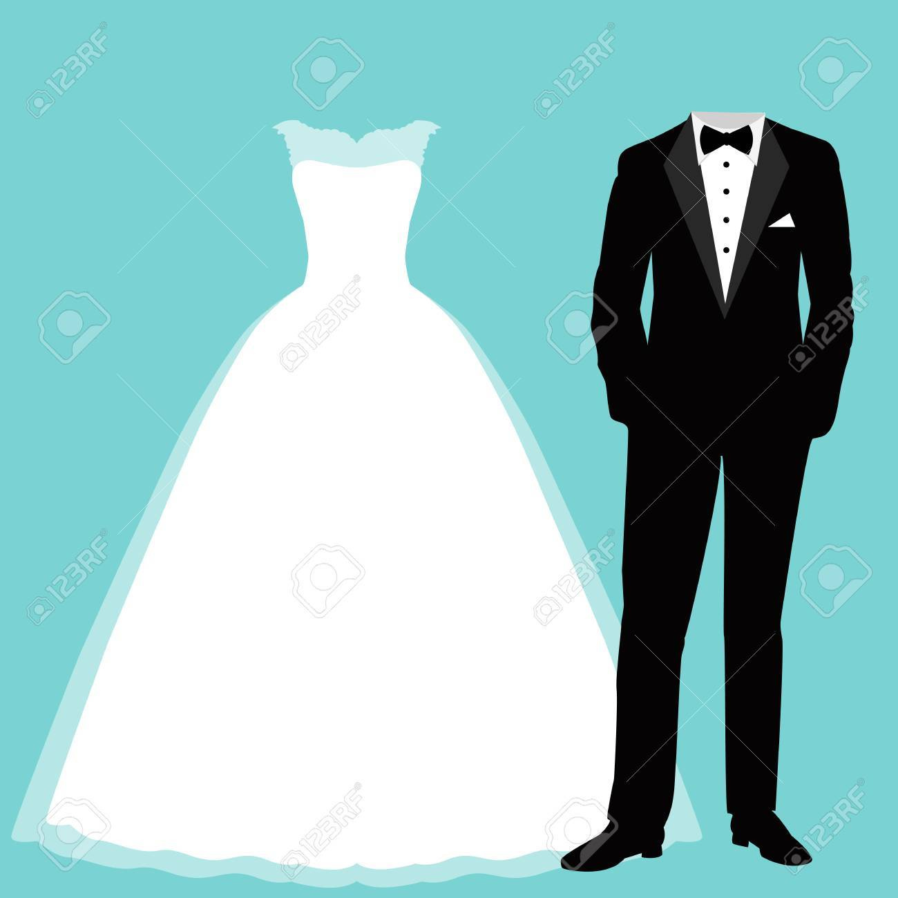 Wedding Card With The Clothes Of The Bride And Groom. Beautiful ...