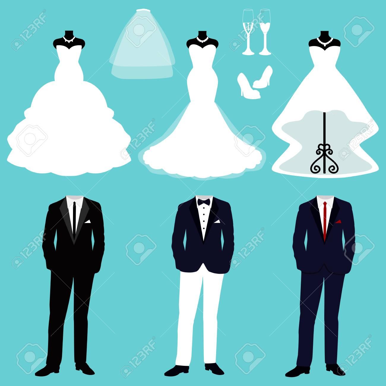 2b57dbffd Invitación de boda con la ropa de la novia y el novio. Un conjunto de ropa  de boda. Hermoso vestido de novia y esmoquin. Ilustracion vectorial