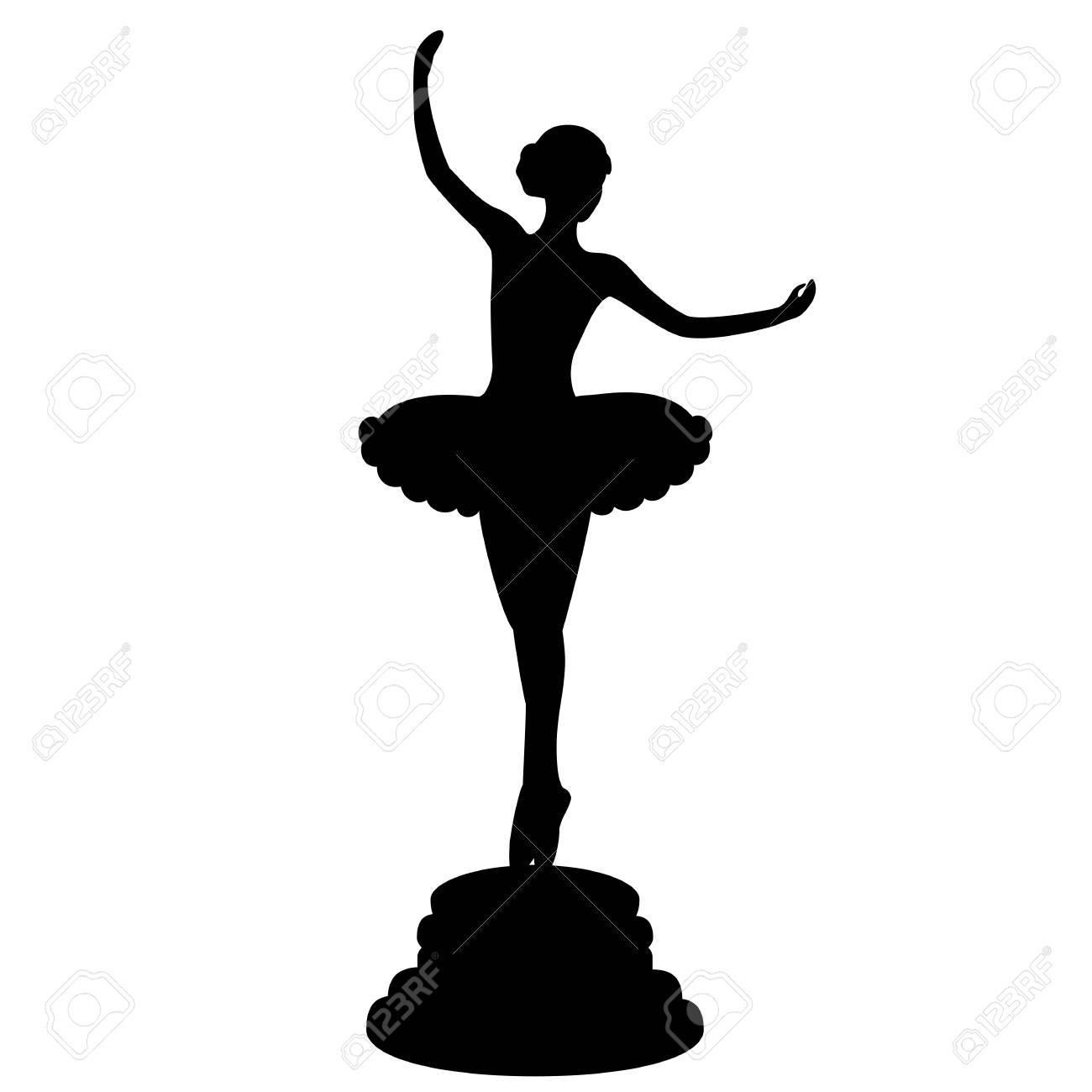 f1c1f7020cc3a Ballerina silhouette. Statuette. The black silhouette on a white  background. Vector illustration.