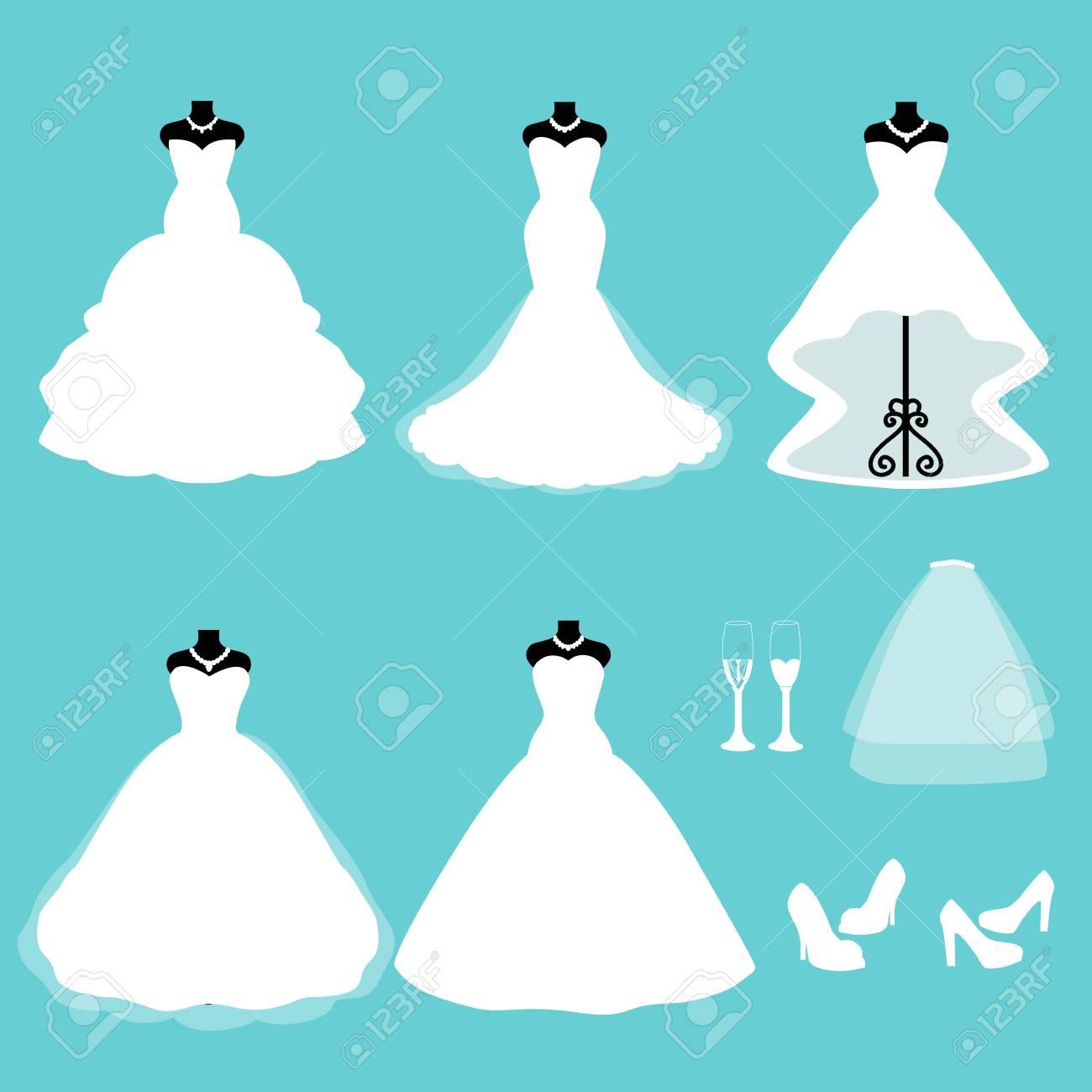 Un Conjunto De Vestidos De Novia. Ropa Para La Novia Iconos De ...