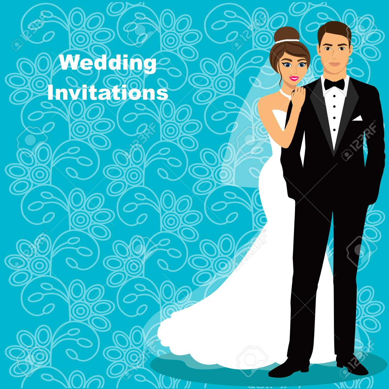 Bride And Groom. Wedding Card With The Newlyweds On The Background ...