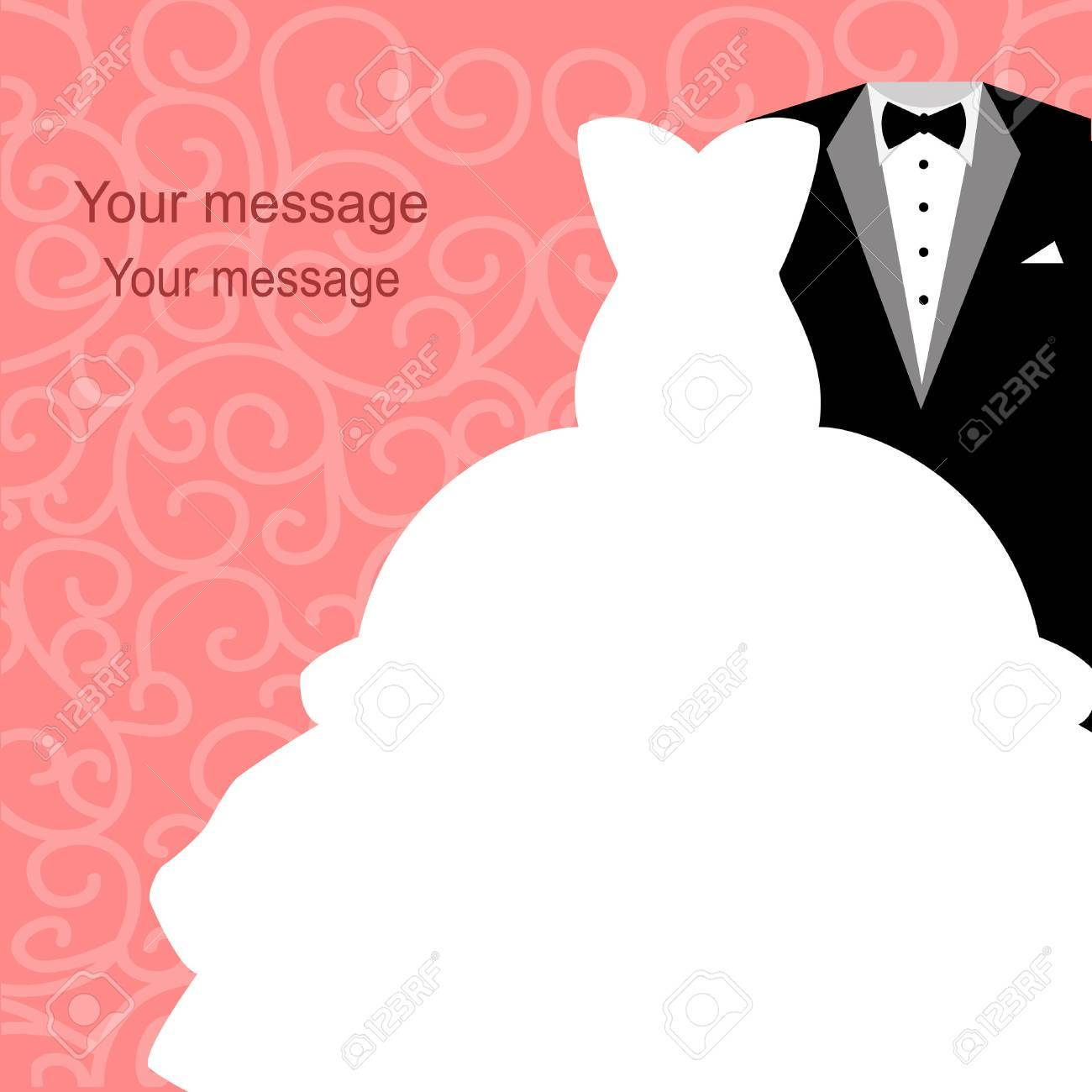 Wedding Invitation With A Tuxedo And Dress On An Abstract Background