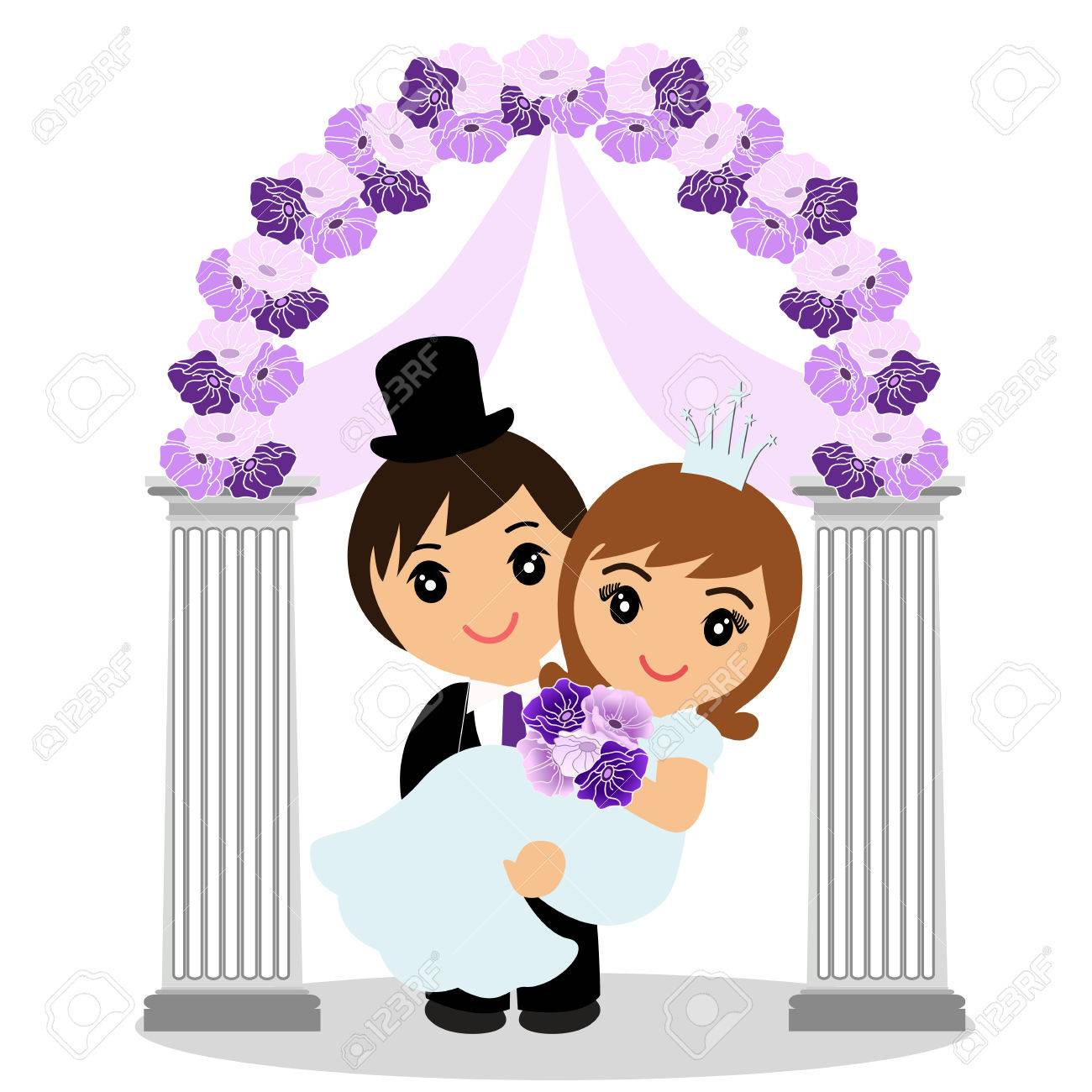 Wedding arch with bride and groom isolated on white background vector wedding arch with bride and groom isolated on white background bride and groom wedding design wedding decoration vector illustration junglespirit Gallery