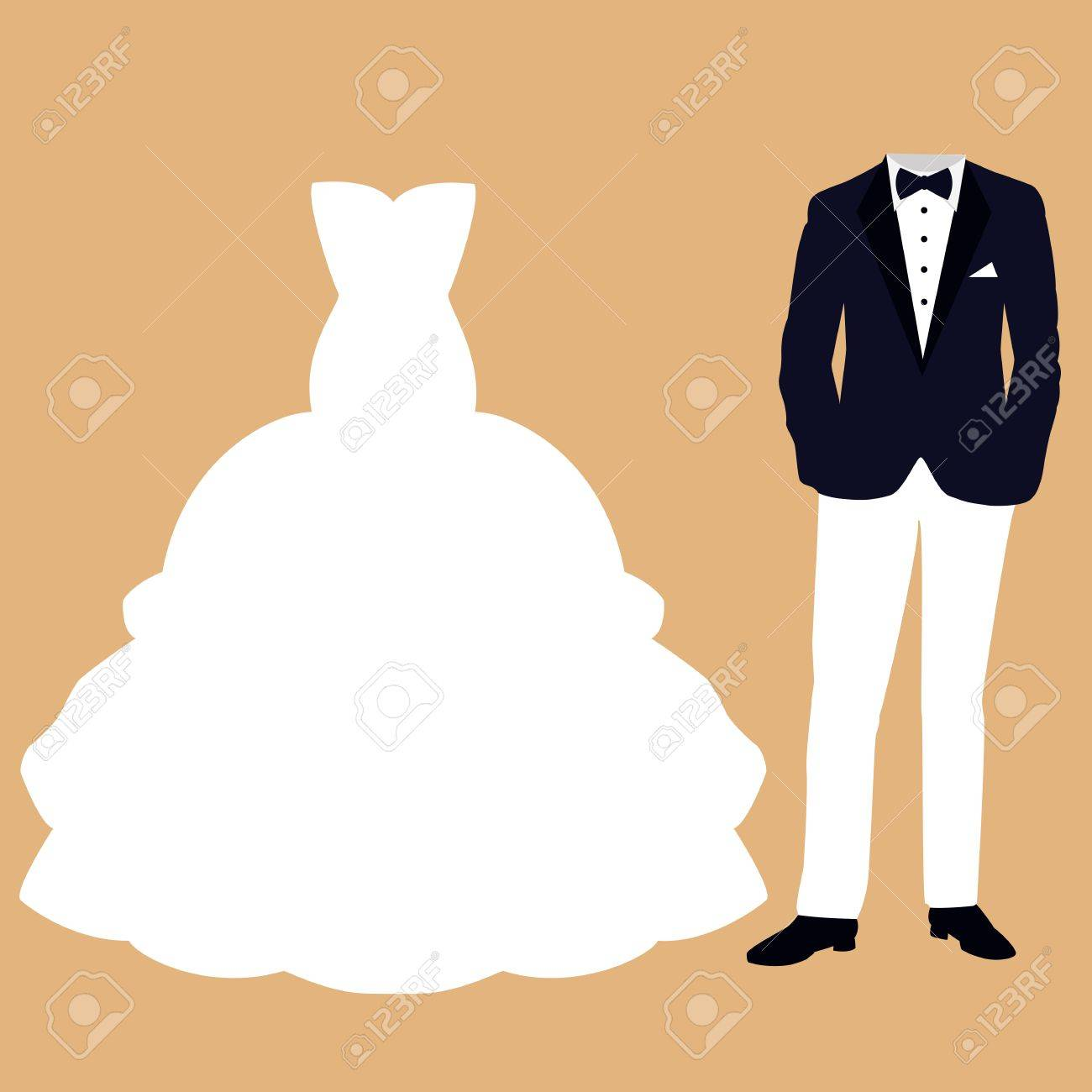 Wedding card with the clothes of the bride and groom. Beautiful wedding dress and tuxedo. Vector illustration. - 84337412