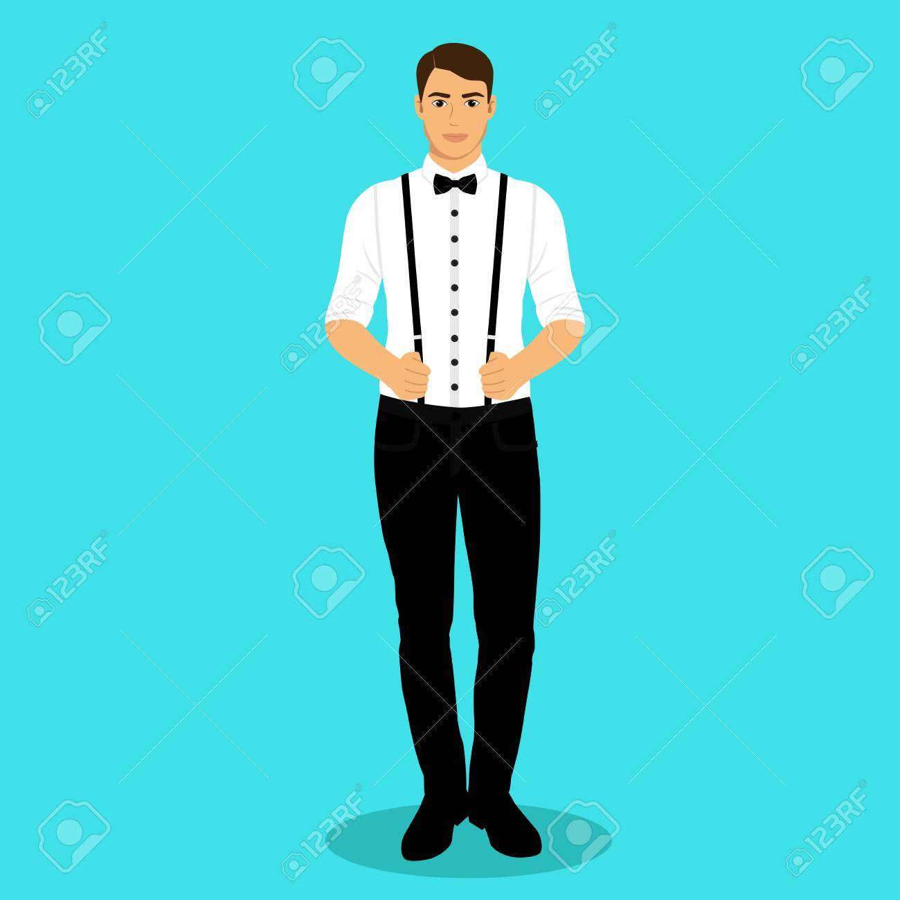 A Man With Suspenders. The Groom. Clothing. Wedding Men\'s Suit ...