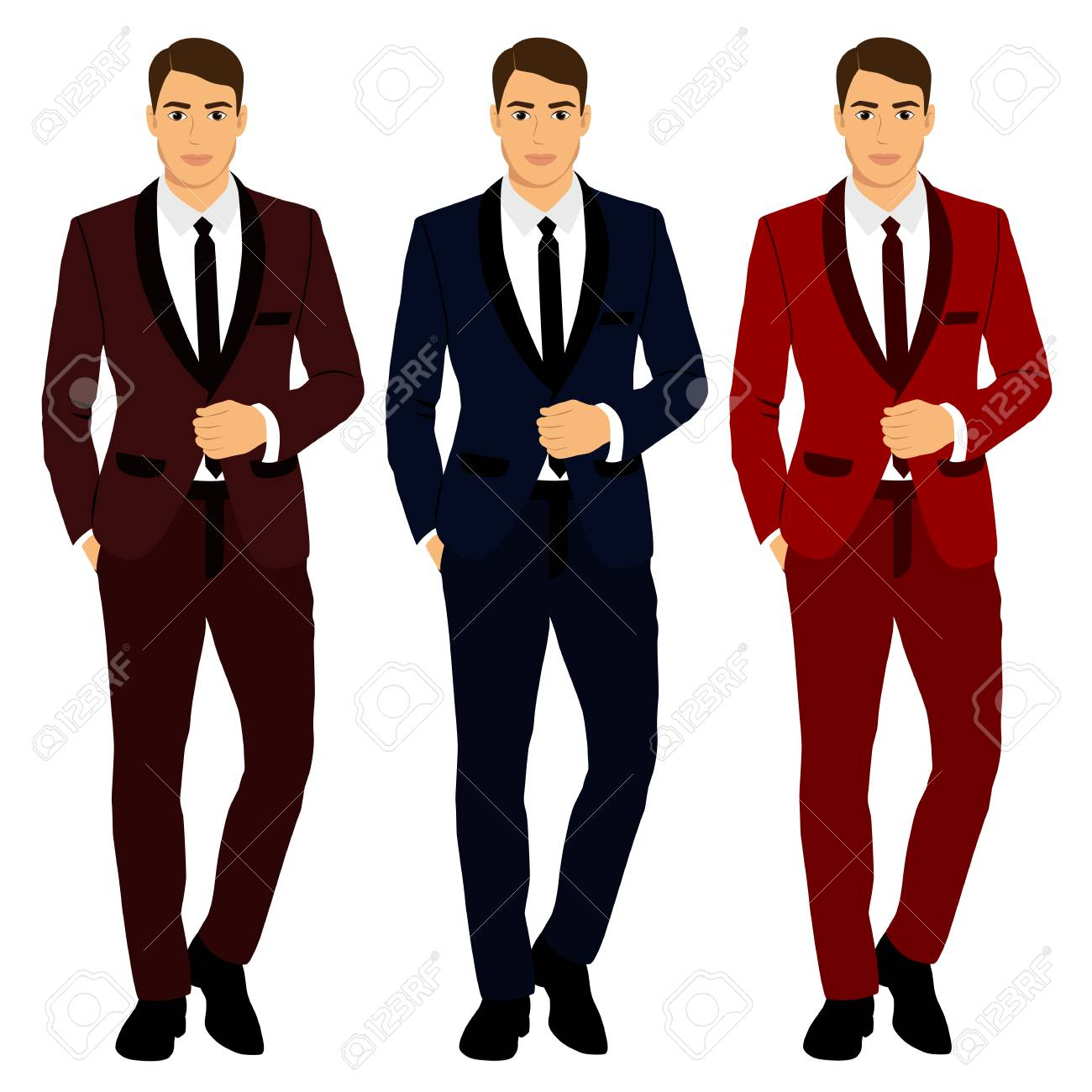 Collection Of Clothing In Various Colors The Groom. Wedding ...