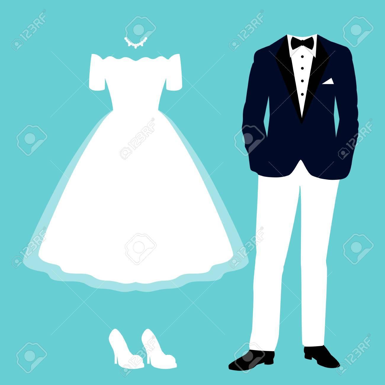 6e1343e0d Invitación de boda con la ropa de la novia y el novio. Ropa. Hermoso  vestido de novia y esmoquin. Ilustración vectorial