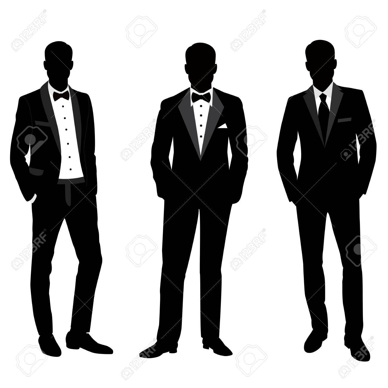 Wedding Men\'s Suit And Tuxedo. Collection. The Groom. Vector ...