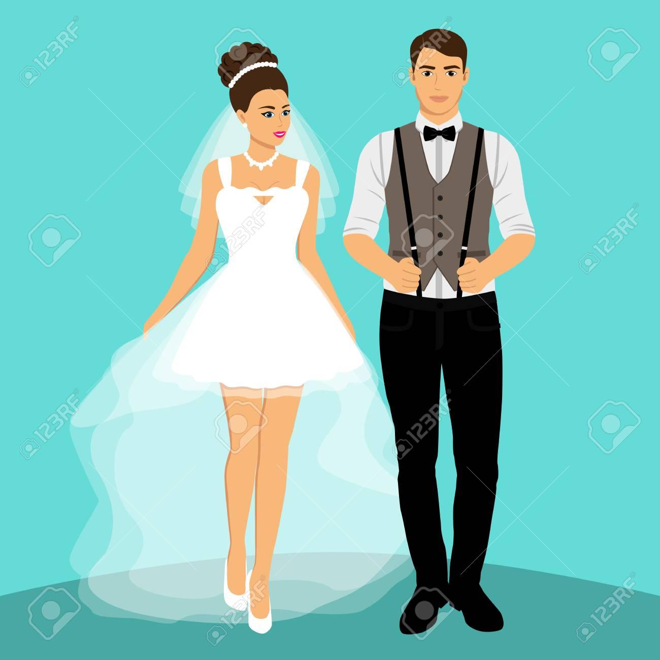 Braut Und Brautigam Paar Hochzeitskarte Mit Den Jungvermahlten