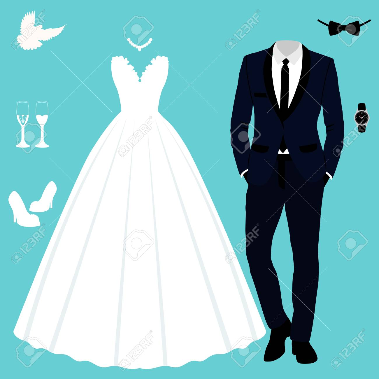 Beautiful Wedding Dress And Tuxedo Vector Illustration. Royalty Free ...