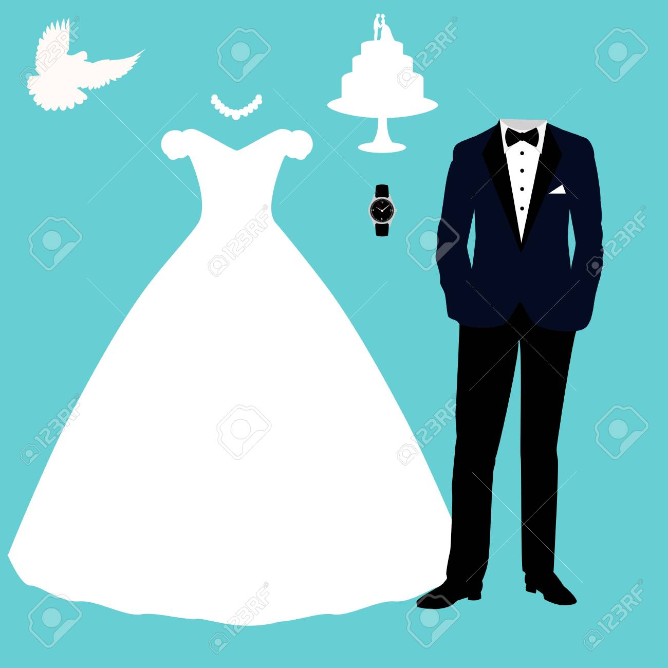 Wedding Card With The Clothes Of The Bride And Groom. Wedding Set ...