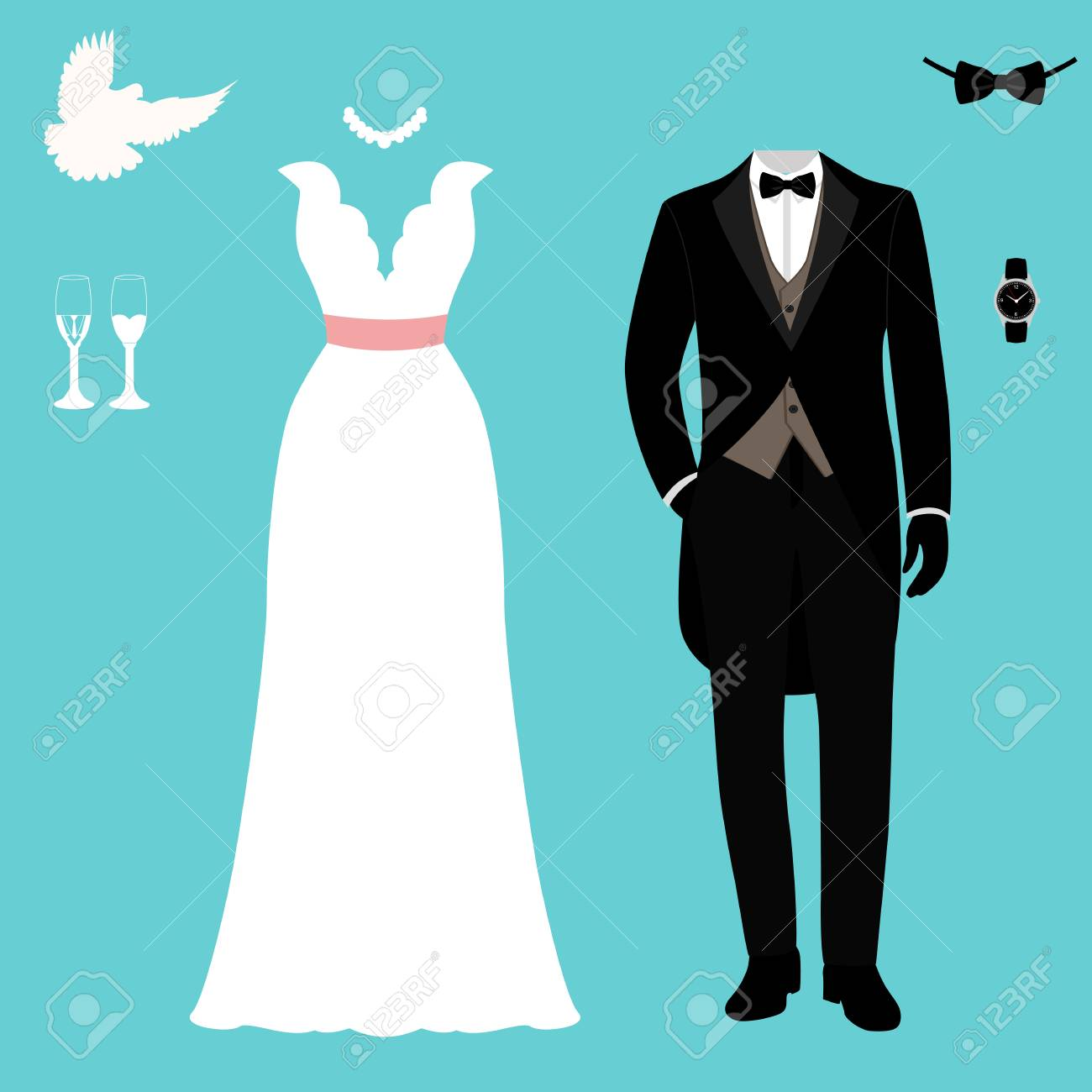Wedding Card With The Clothes Of The Bride And Groom. Wedding ...