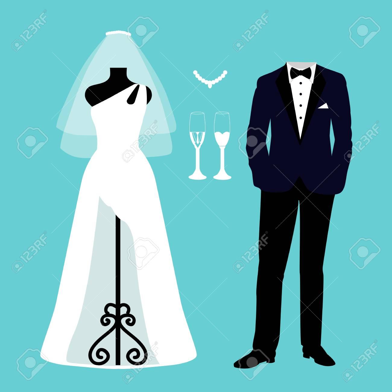 fcf3ae5cd7d8 Invitación de boda con la ropa de la novia y el novio.