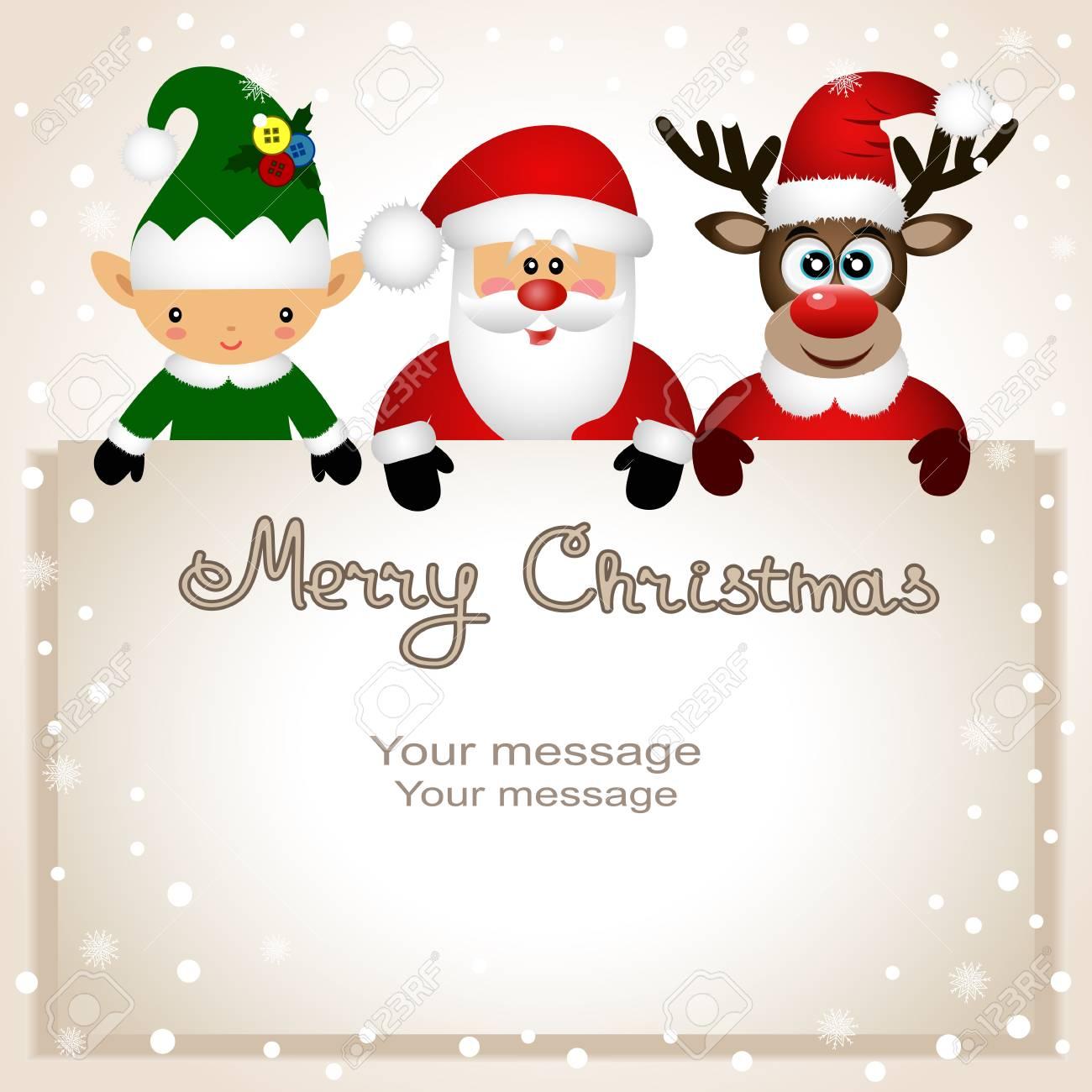 Christmas Card Funny Postcard With Christmas Elf Christmas Reindeer And Santa Vector Illustration