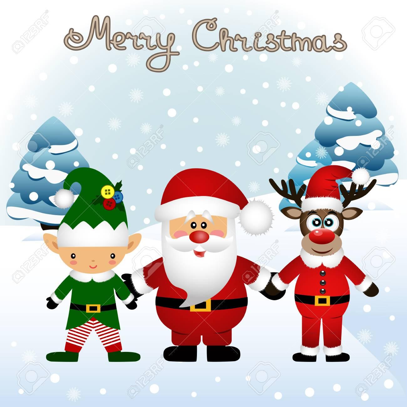 Carte De Noël. Carte Postale Drôle Avec L'elfe De Noël, Le Renne