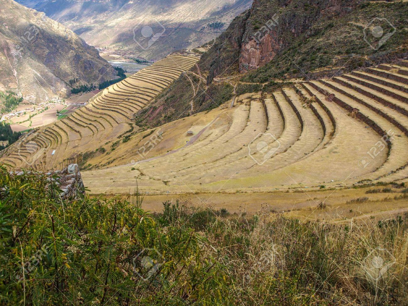 Mountain living near cusco peru royalty free stock photo - Terraces Of Pisac In Urubamba Valley Near Cusco Peru Stock Photo 21131104