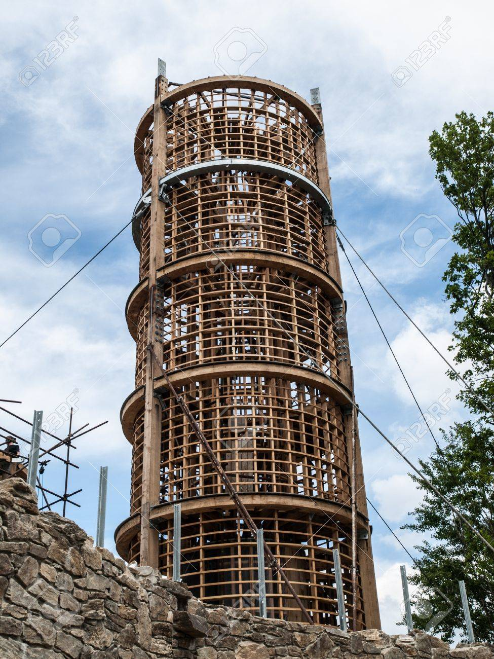 Wooden lighthouse under construction (Korenov, Czech Republic) Stock Photo - 21264476