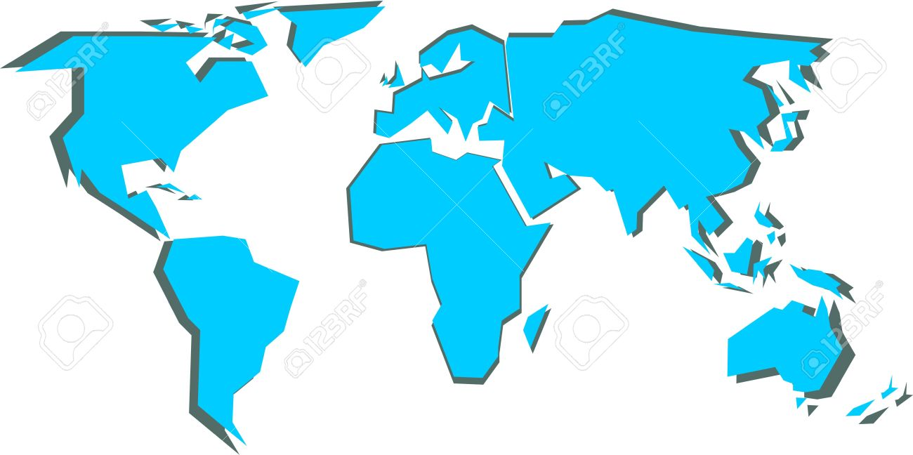 Simplified World Map (vector Illustration) Royalty Free Cliparts ...