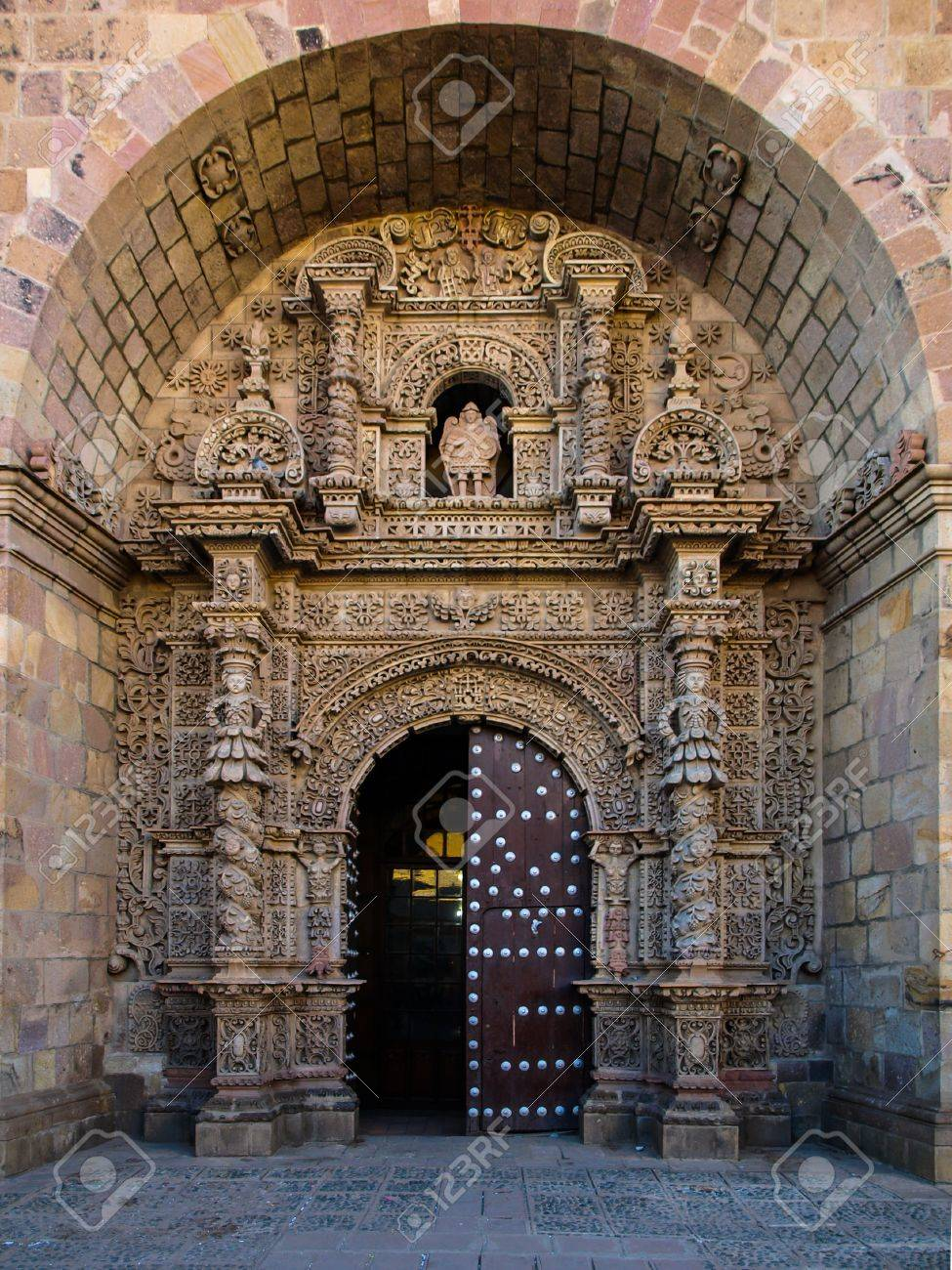 Front Door To Iglesia San Lorenzo (Potosi, Bolivia) Stock Photo ...