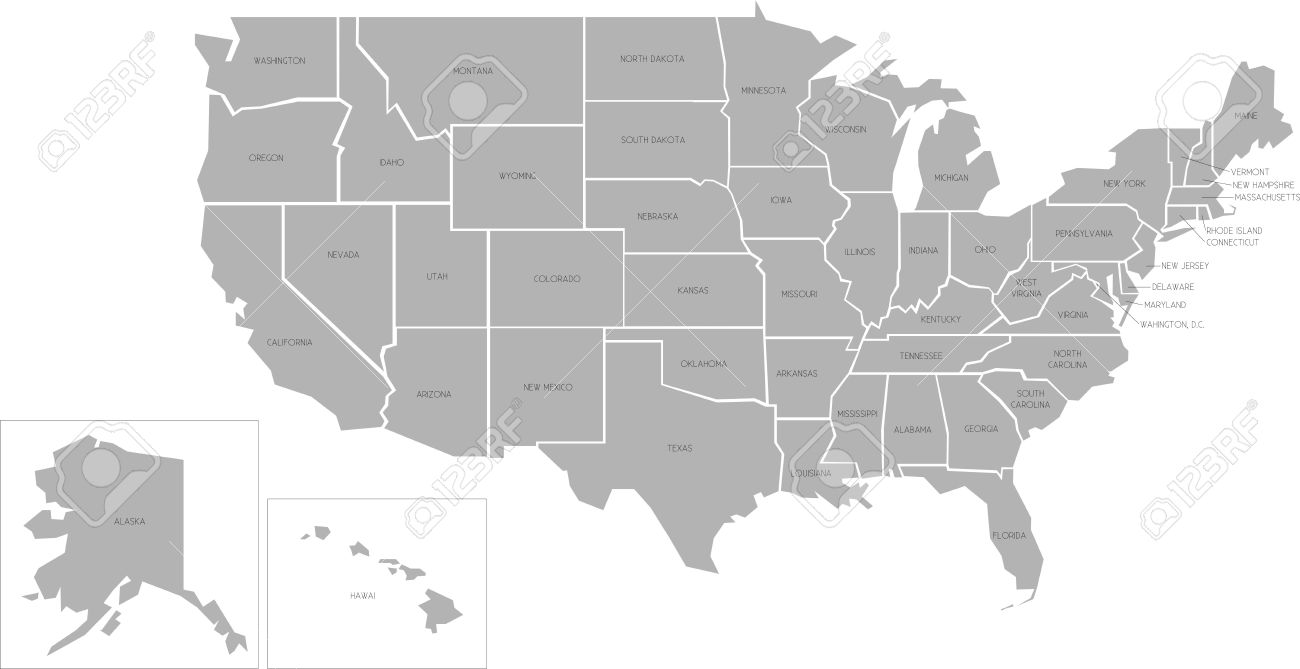 Map Of The United States Of America With Names.Simlified Vector Map Of United States Of America With Full Names