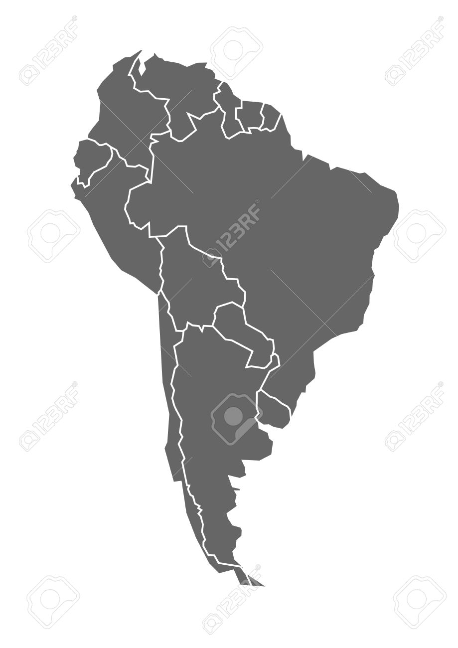 map of South America in grey with states and borders - 35387736
