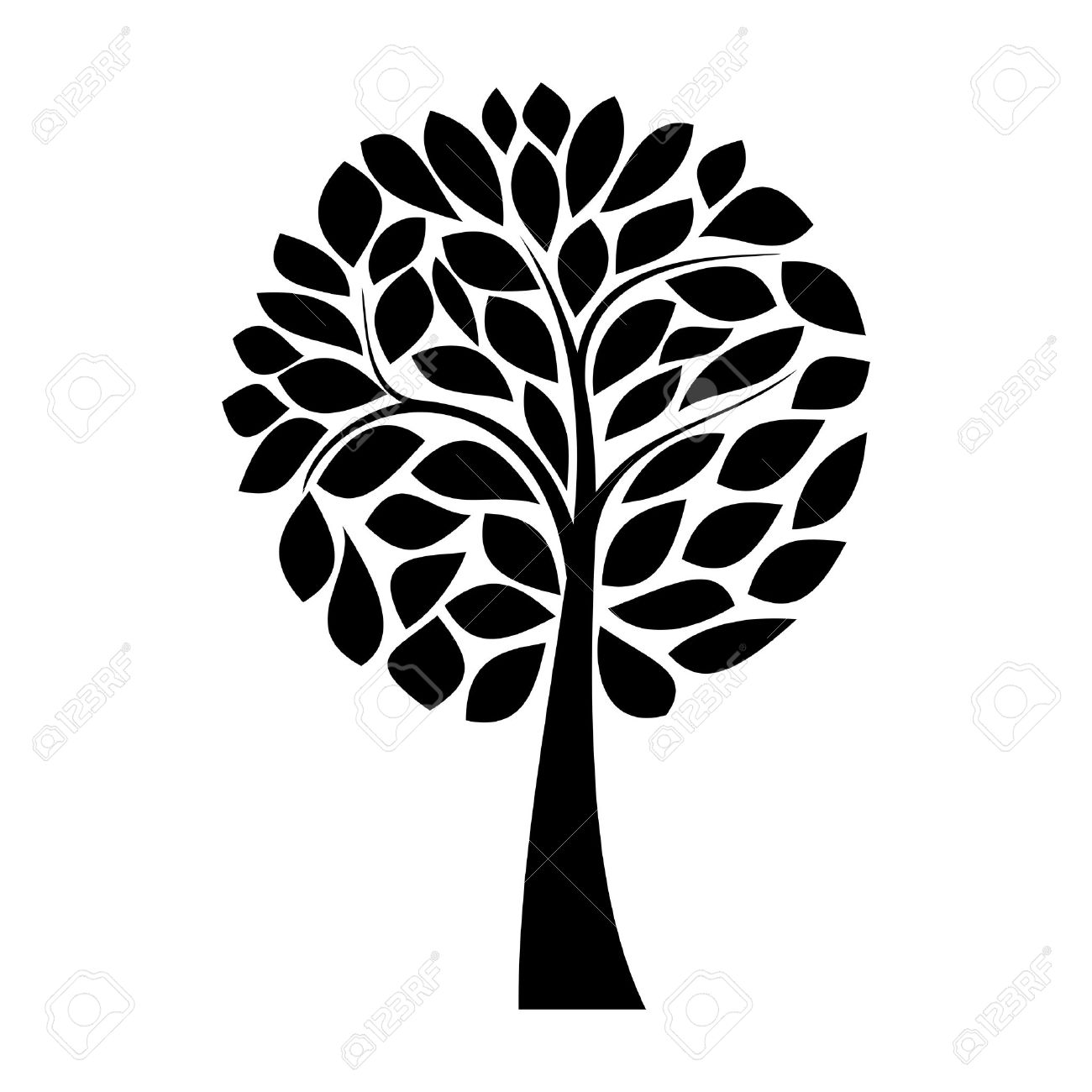 simple black tree silhouette on white background royalty free rh 123rf com tree silhouette vector download tree silhouette vector illustrator