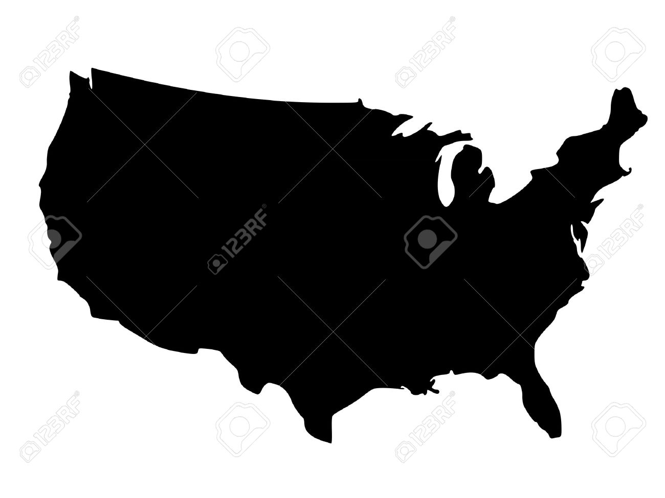 Solid Black Silhouette Map Of United States Of America Without