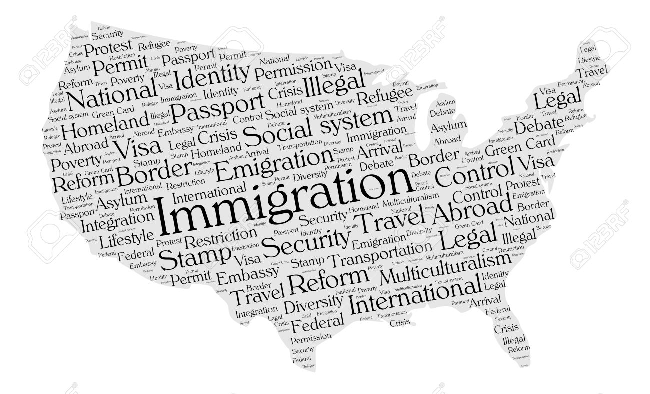Immigration Word Cloud Concept In A Shape Of United States - Us map white silhouette