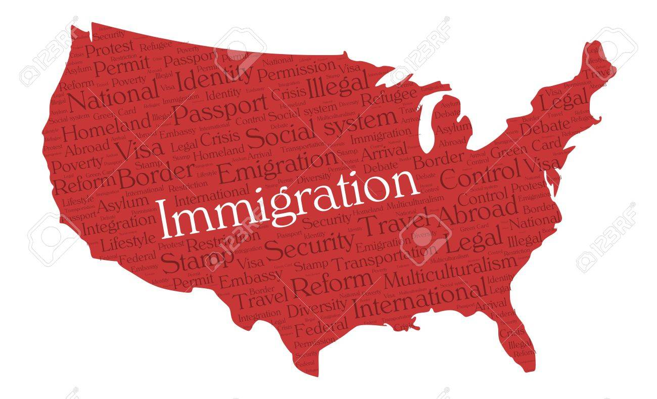 Immigration Word Cloud Concept In A Shape Of United States - Us map dark