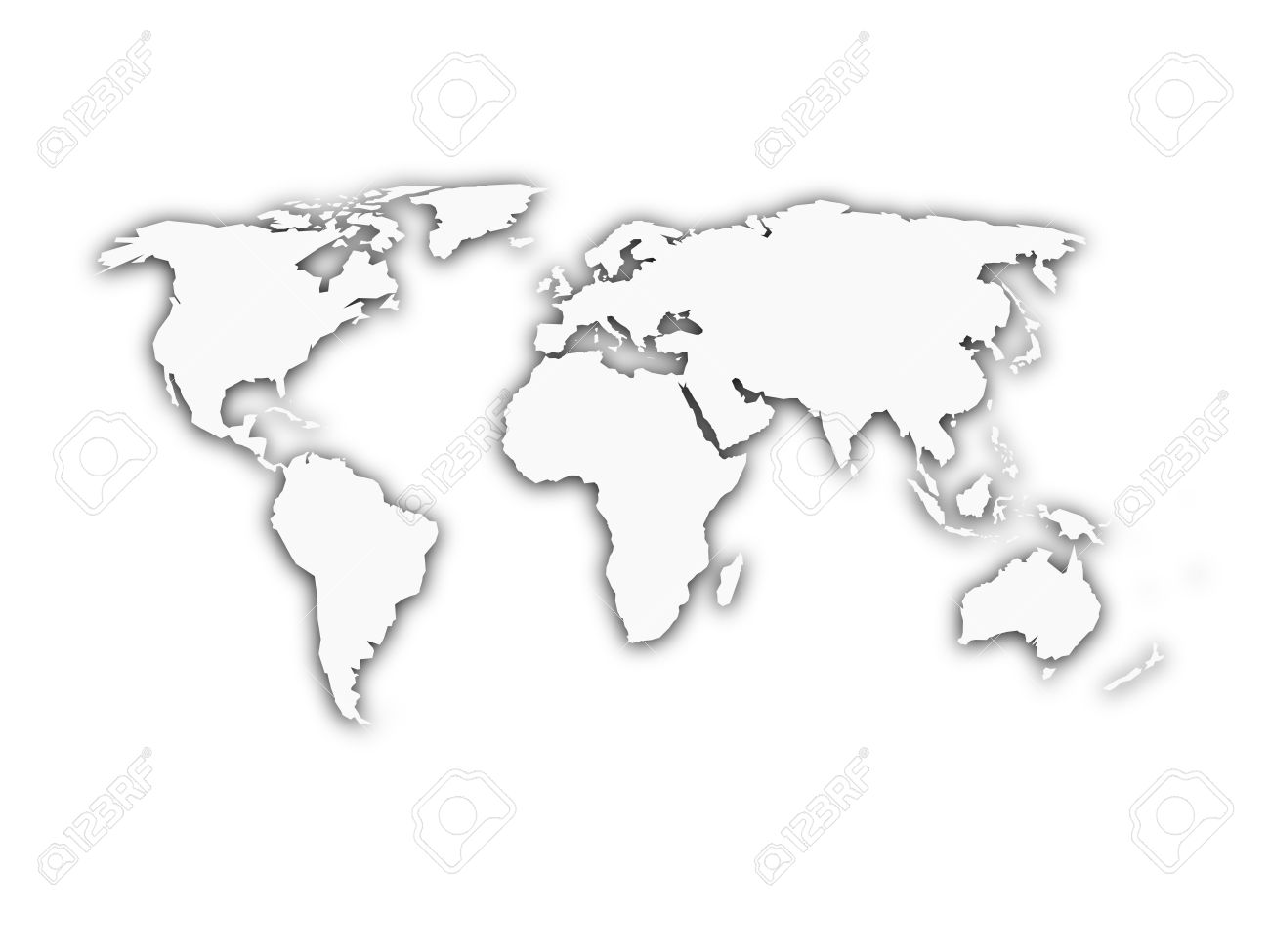 White world map with shadow silhouette. Looks like map cut from paper. Vector illustration. - 50506421