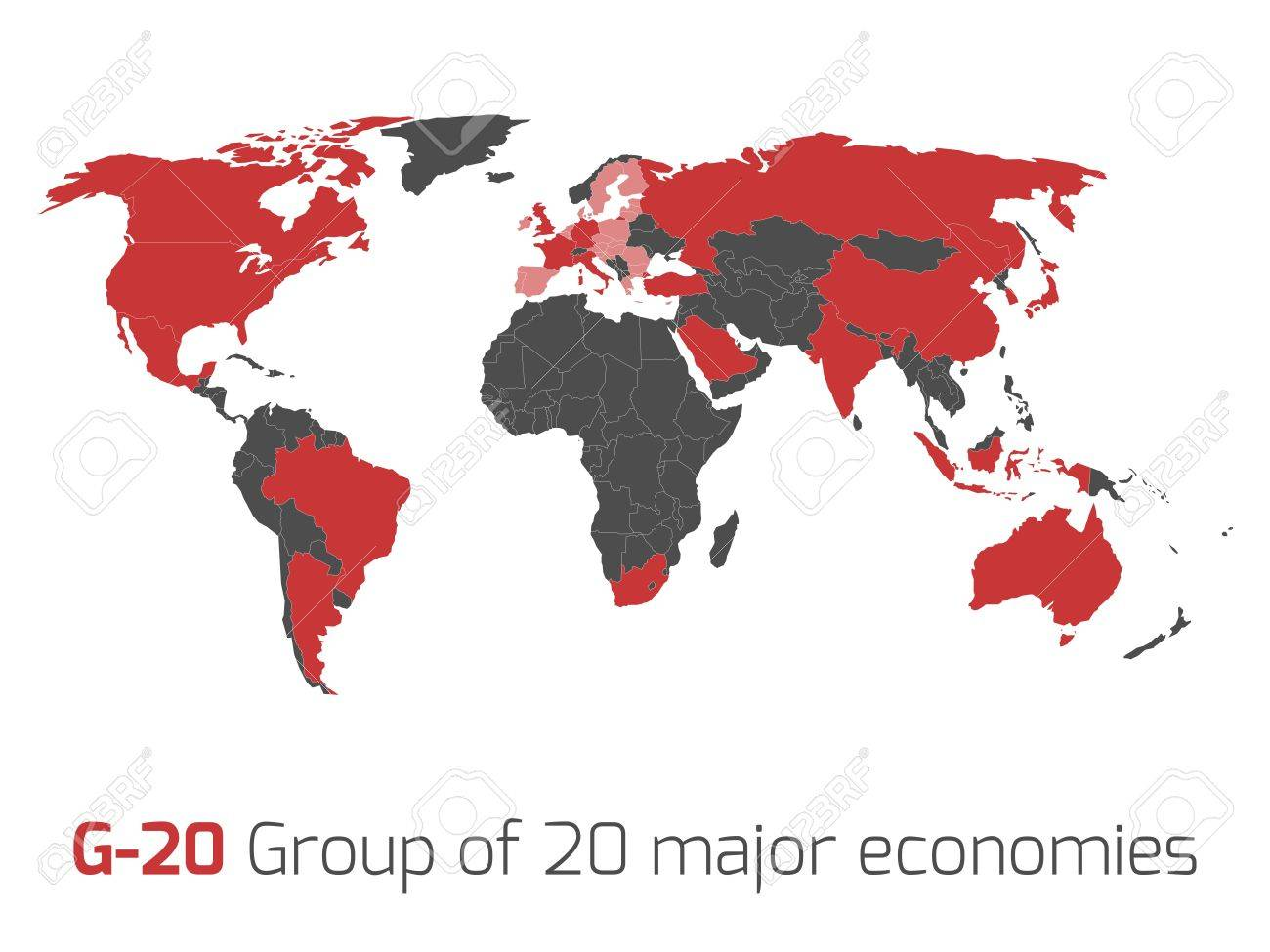 G-20 Or Group Of Major Economies In The World. Highlighted By ...