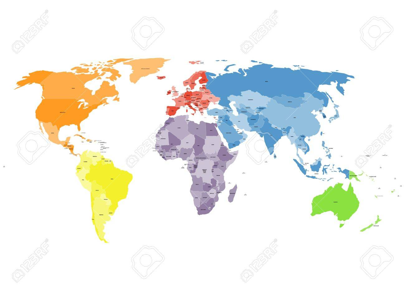 Colored political world map with names of sovereign countries colored political world map with names of sovereign countries and larger dependent territories different colors gumiabroncs Choice Image