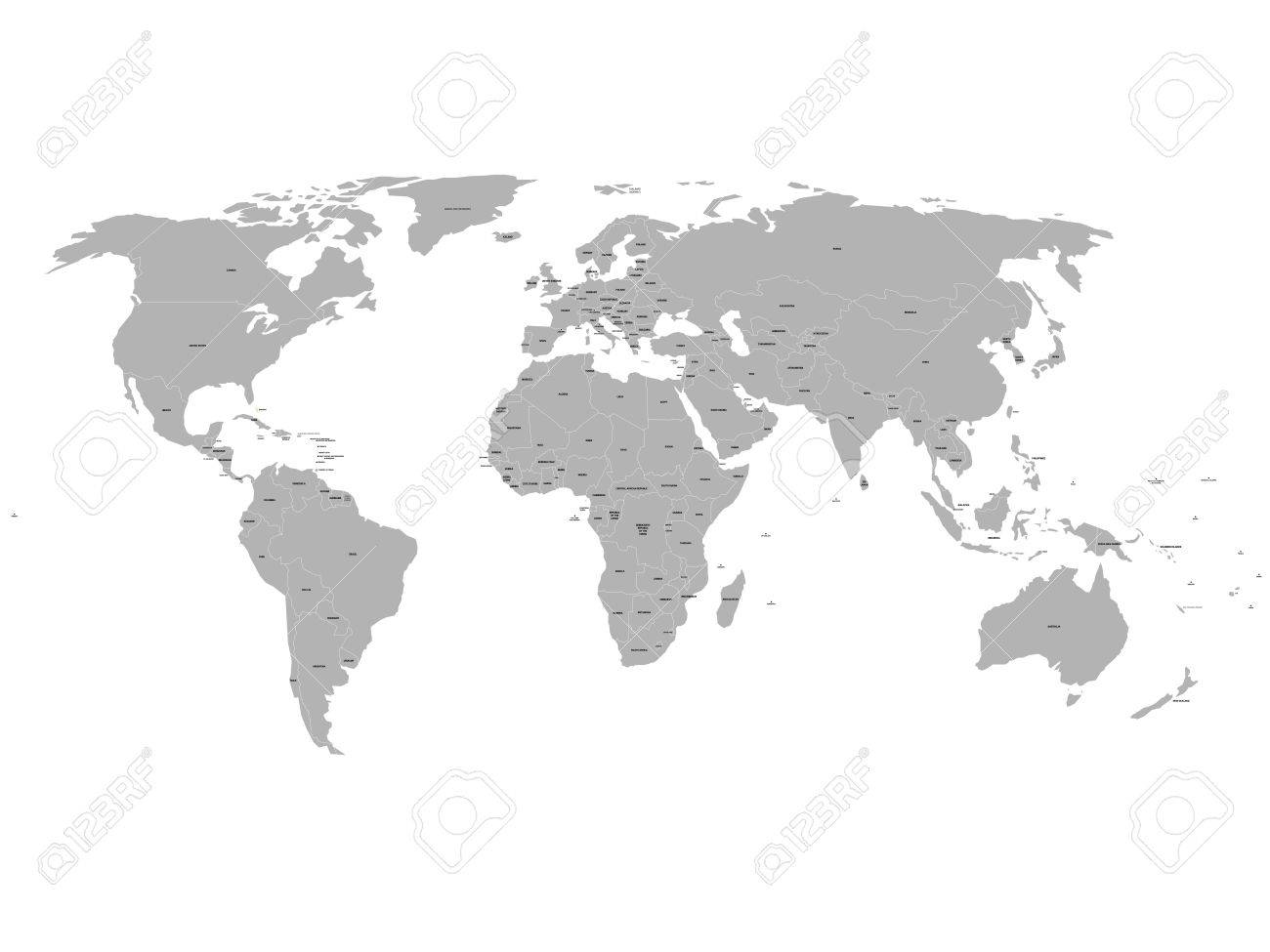 Political Map Of South Sudan.Grey Political World Map With Names Of Sovereign Countries And