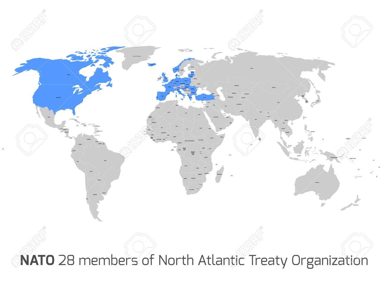28 NATO Member Countries Highlighted By Blue In Blank World ...