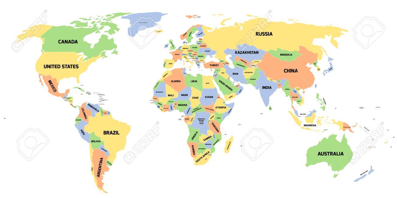 World Map With Labels Of Countries.Colored Political World Map With Black Labels Of Sovereign Countries